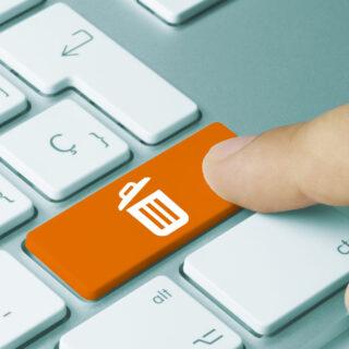 icone poubelle sur clavier